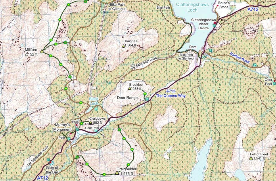 Clatteringshaws Map image