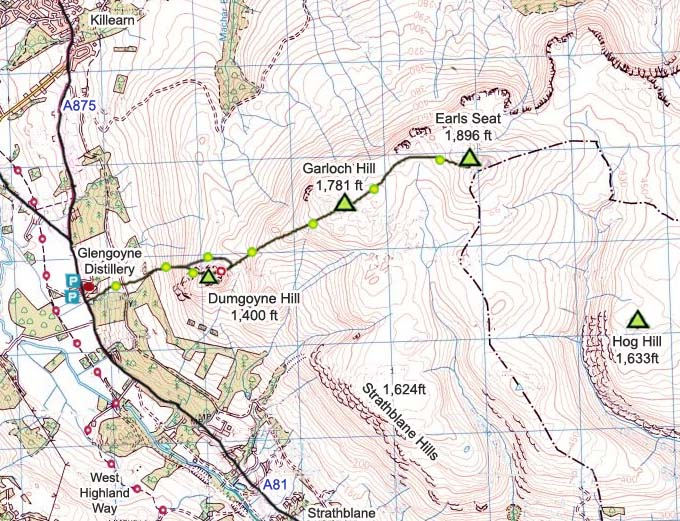 Dumgoyne Hill & Earls Seat Map image